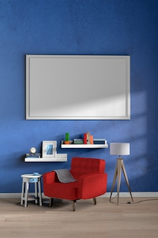 Vertical blue wall with painting frame in living room interior with wooden floor.