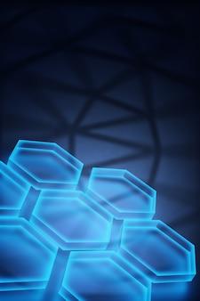 수직 디지털 기술 개념, 추상적인 배경입니다. 3d 렌더링
