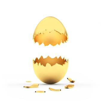 수직 빈 황금 깨진 된 달걀