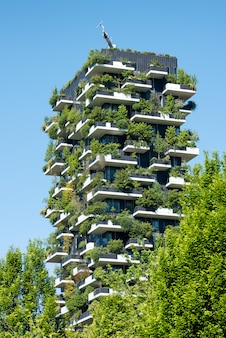 Vertical forest building in milan, italy