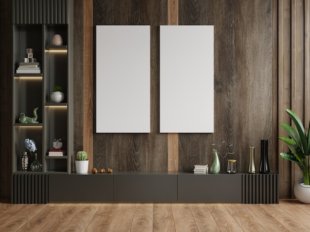 Vertical frame on empty dark wooden wall in living room interior with cabinet. 3d rendering