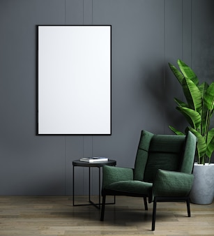 Vertical frame mockup in modern dark interior with green armchair and plant.
