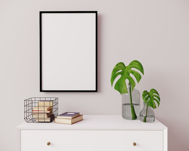 Vertical frame mockup in modern interior