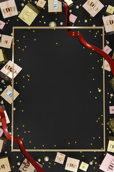 Vertical frame new year and christmas background gift box balloons and ribbon 3d illustration