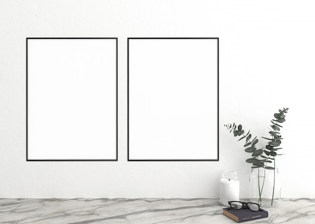 Vertical frame on white wall and frames