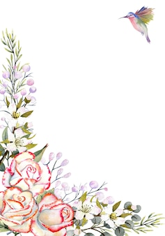 수채색 장미 꽃이 있는 수직 프레임은 장식과 벌새를 남깁니다.