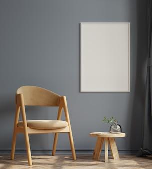 在空的黑暗的墙壁上的垂直的框架在客厅内部与天鹅绒扶手椅子3d渲染