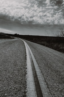 Vertical grayscale shot of a countryside road