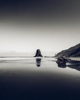 海の岸にある岩の垂直方向のグレースケールショット