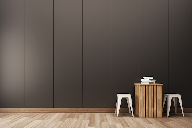 Vertical grove line wall with modern table set Premium Photo
