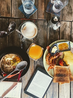 Vertical high angle shot of a breakfast table