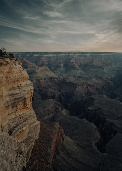 Vertical high angle shot of the grand canyon national park in the usa