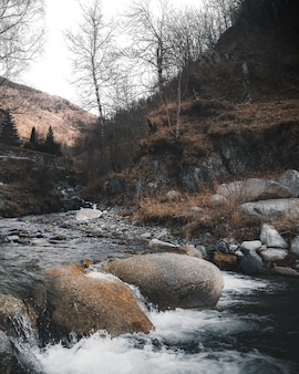 산에 흐르는 강에 돌의 수직 높은 각도 샷