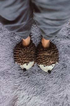 Inquadratura verticale dall'alto di una persona che indossa un paio di pantofole soffici su un tappeto grigio