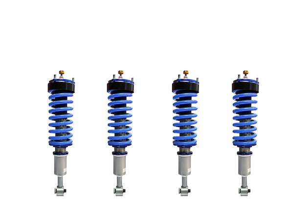 Vertical image of four shock absorber isolated on white space
