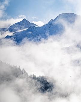 L'immagine verticale di un pittoresco paesaggio nebbioso sulle montagne alpine