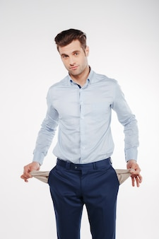 Vertical image of upset man showing empty pockets