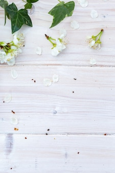 Vertical image of white spring flowers and leaves on a wooden table, flat lay