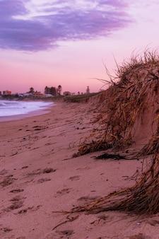 Paesaggio verticale di un bellissimo tramonto colorato in spiaggia