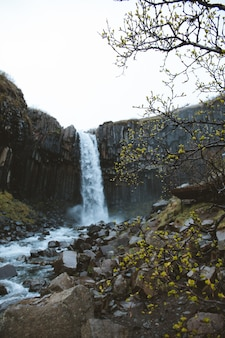 Colpo verticale di angolo basso di una bella cascata sulle scogliere rocciose catturate in islanda