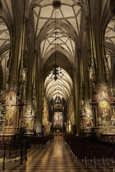 Colpo verticale di angolo basso dell'interno della cattedrale di santo stefano a vienna austria