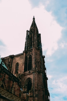 フランス、ストラスブールで撮影されたノートルダム大聖堂の垂直ローアングルショット