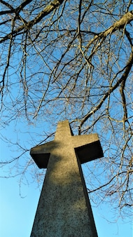 Vertical low angle shot of stone made cross statue with branches and clear sky