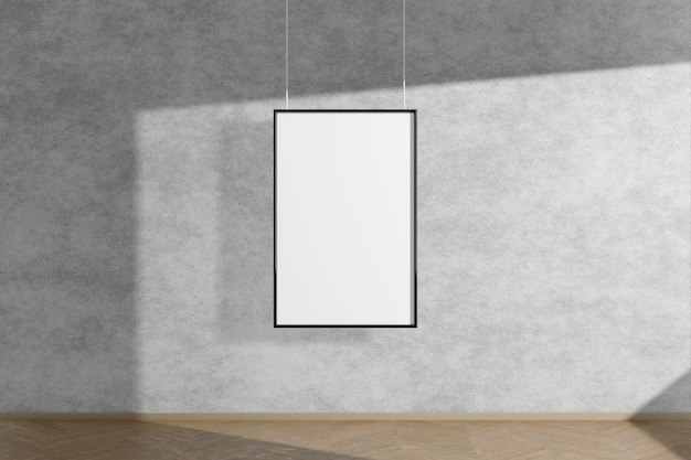 コンクリートの壁のシンプルなインテリア暗い部屋の光と窓の影に掛かっている黒で垂直のモックアップの額縁。 3dレンダリング