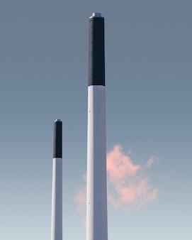 デンマーク、コペンハーゲンのフレデリスクベルクにある工場の煙突の垂直