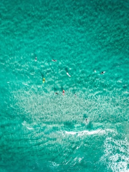 Vertical overhead shot surfers with surfboards on a clear blue sea
