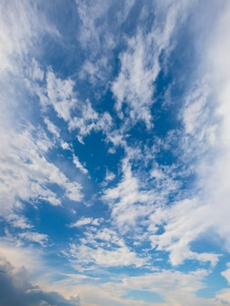 Vertical panorama of blue sky with white clouds