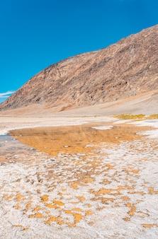 カリフォルニア州バッドウォーター盆地の広大な白い塩の平地にある水の垂直方向のパノラマ。アメリカ