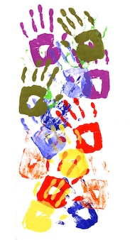 Vertical pattern of handprints made from vivid acrylic paint on white paper
