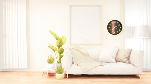 Vertical photo frame for artwork, white sofa on loft room interior design, orange brick wall design. 3d rendering