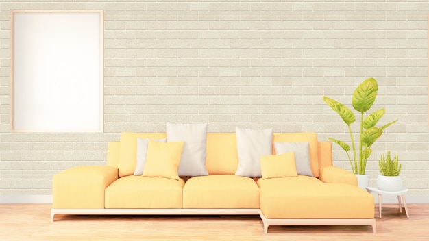Vertical photo frame for artwork, yellow sofa on loft room interior design, brick wall design. 3d rendering