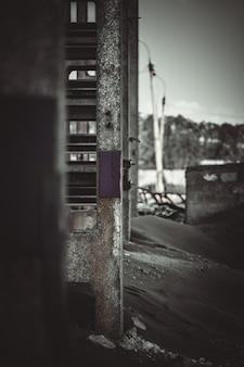Vertical photo. view of the wall of an industrial building