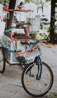 Vertical selective closeup shot of a blue bicycle with a basket and bird cage