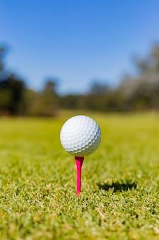 Вертикальный неглубокий фокус мяча для гольфа на тройнике у нас