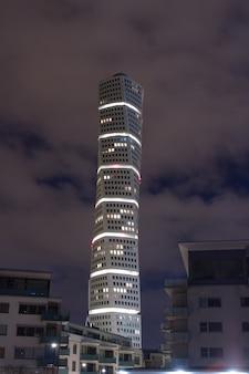 Vertical shot of the ankarparken skyscraper at night time