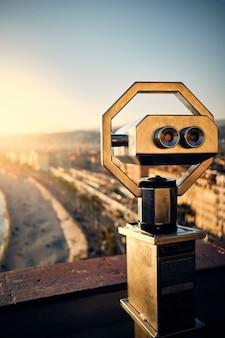 Vertical shot of a binocular
