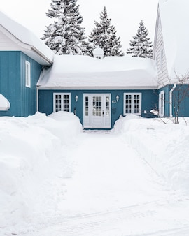 Vertical shot of a blue house covered with white snow during winter