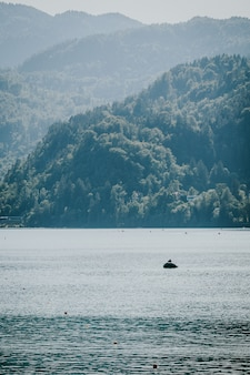 Vertical shot of a boat on the water with forested mountains