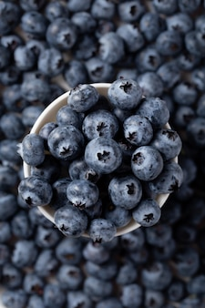 Vertical shot of a bowl of blueberries with blueberries in the background