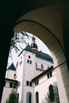 Vertical shot of a cathedral and the trees captured from an arch shaped hallway