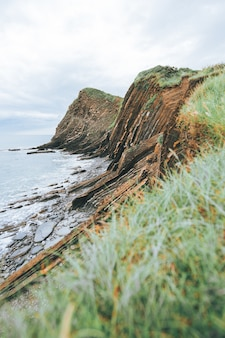 Colpo verticale di scogliere piene di erba verde vicino al mare blu durante la luce del giorno
