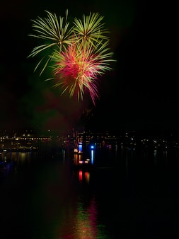 Vertical shot of colorful fireworks reflecting on water in a town during the night