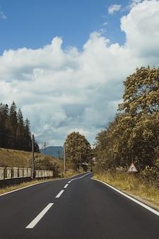 Vertical shot of an empty asphalt road through mountains under a cloudy sky