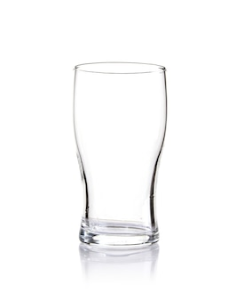 Vertical shot of an empty glass isolated on a white background