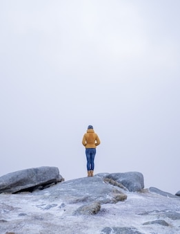 Vertical shot of a female in a yellow coat standing on the stone in the snowy mountains
