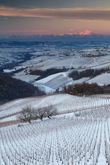 Colpo verticale di campi coperti di neve circondati da colline di campagna